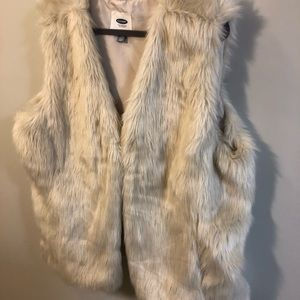 Old Navy Cream Fur Vest